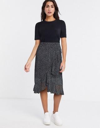 Vero Moda 2-in1 midi dress with sheer skirt in black