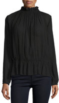 BA&SH Jagger Gauzy Ruffled Blouse