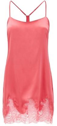 Fleur of England Camellia Silk-blend Charmeuse Slip Dress - Womens - Pink