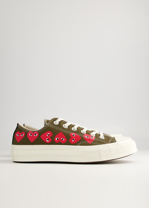 Comme des Garcons Women's Play Converse Low Multi Heart Sneaker in Khaki, Size 7.5 | Textile/Rubber