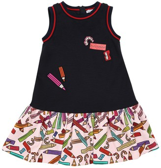 Dolce & Gabbana Printed Cotton Blend Dress W/ Patch