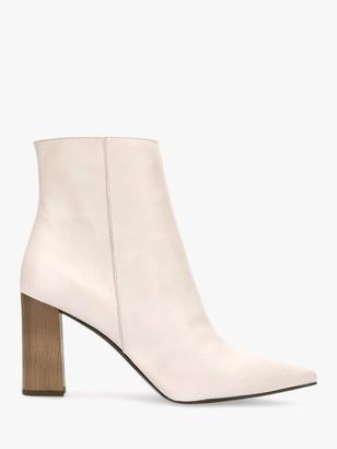 Mint Velvet Melanie Leather Pointed Ankle Boots, White