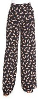 Carolina Herrera Feather-Print Wide-Leg Pants, Black Multi