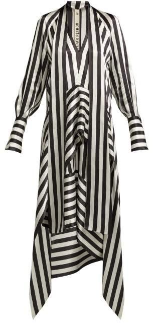 Petar Petrov Duscha Striped Silk Dress - Womens - Black White