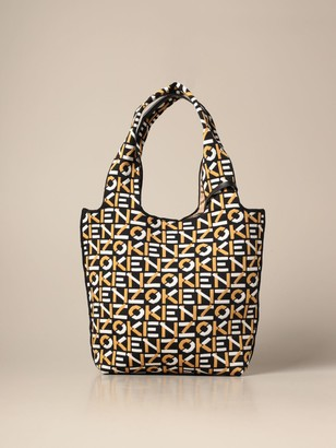 Kenzo Tote Bag In Technical Fabric With All Over Logo