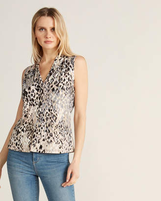 Calvin Klein Animal Print V-Neck Sleeveless Top