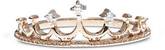 Pink Gold Crown Ring w/ Diamonds