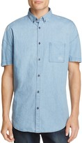 Zanerobe Distressed Denim Slim Fit Button-Down Shirt