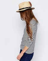 Asos Natural Straw Panama Hat With Western Trim