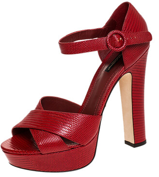 Dolce & Gabbana Red Embossed Lizard Leather Cross Strap Platform Sandals Size 41
