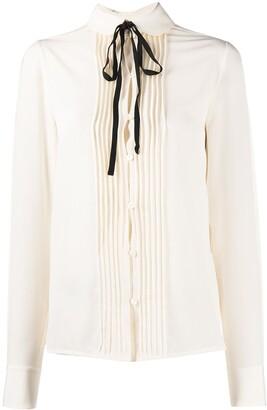 Victoria Beckham Pleat-Detail Long-Sleeve Blouse