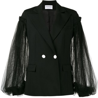 Osman Lace Sleeve Double Breasted Blazer