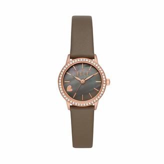 Elle Alma Three-Hand Gray Leather Watch