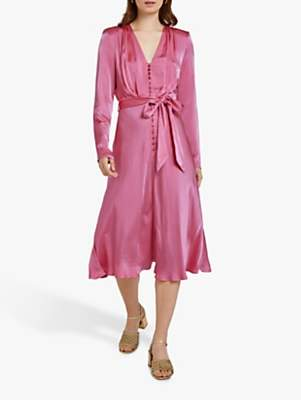 Ghost Meryl Wrap Tie V-Neck Dress, Carmine Rose