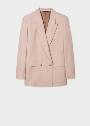 Paul Smith Women's Dusky Pink Linen Relaxed Double-Breasted Blazer