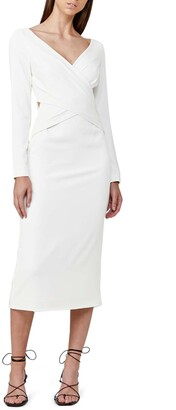 Significant Other Escape Crisscross Front Long Sleeve Midi Dress