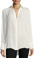 Paige Clemence Button-Front Long-Sleeve Silk Blouse