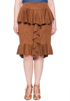 ELOQUII Plus Size Studio Faux Suede Ruffled Skirt