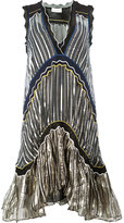 Peter Pilotto metallic (Grey) striped flared dress - women - Silk/Spandex/Elastane/Viscose - XS