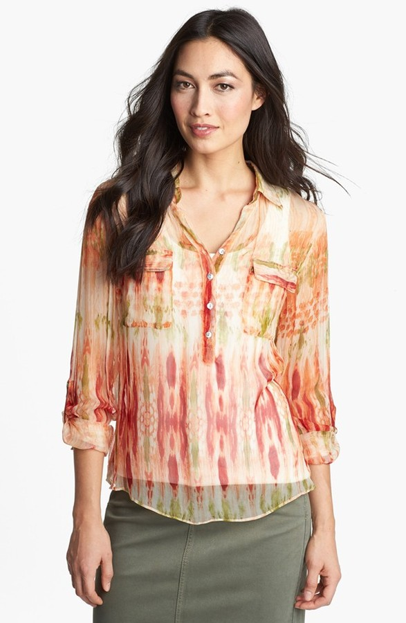 Casual Studio Roll Sleeve Sheer Blouse