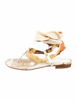 Versace Printed Gladiator Sandals White