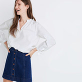 Madewell Tie-Sleeve Popover Top in Eyelet White