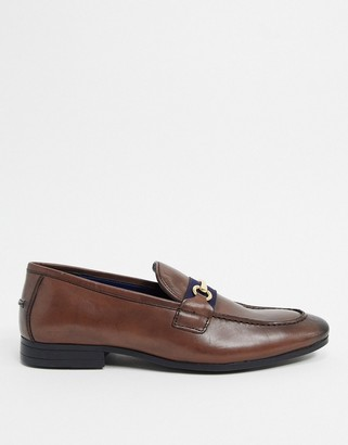Silver Street leather metal trim loafers in brown