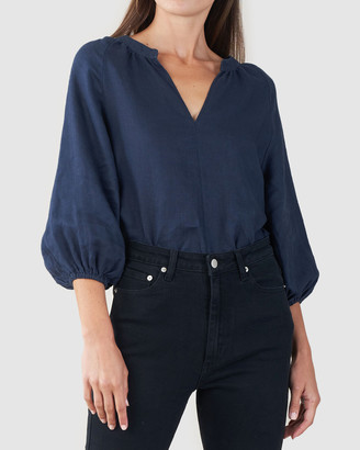 Amelius - Women's Navy Shirts & Blouses - Telopea Linen Blouse - Size One Size, S at The Iconic