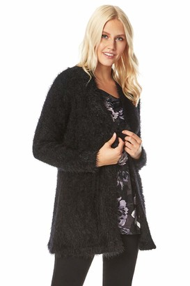 Roman Originals Women Fluffy Sequin Cardigan - Ladies Long Sleeve Evening Special Occasion Holiday Smart Casual Workwear Office Knitwear Sparkly Cover Up Soft Knit Cardie - Black - Size 16
