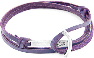ANCHOR & CREW Grape Purple Clipper Anchor Silver And Flat Leather Bracelet
