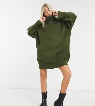 Collusion oversized rib jumper dress in green