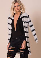 Missy Empire Angelina White Striped Fluffy Cardigan