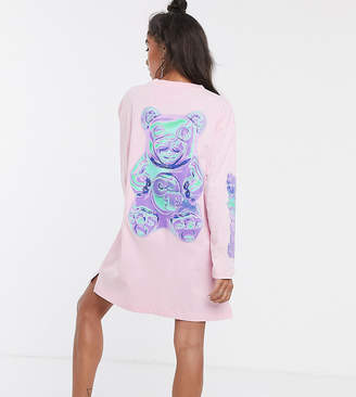 Crooked Tongues long sleeve t-shirt dress with bear print-Pink
