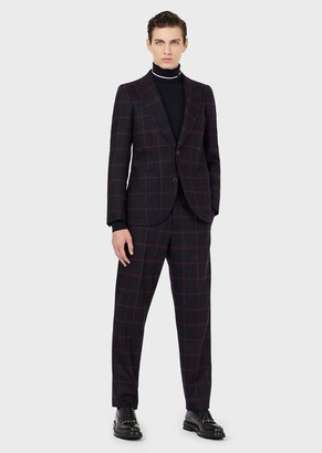 Emporio Armani Slim-Fit, Single-Breasted Suit In Check Virgin Wool