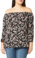 Evans Floral Bardot Top (Plus Size)