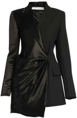 Off-White Formal Half-&-Half Satin Wrapped Jacket