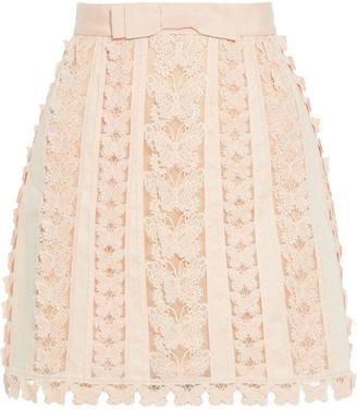 Zimmermann Super Eight Flutter Appliqued Crochet And Linen Mini Skirt