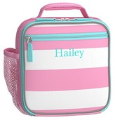 Pottery Barn Kids Classic Lunch Bag, Fairfax Pink White with Aqua Trim, No Patch