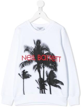 Neil Barrett Kids palm tree print sweatshirt