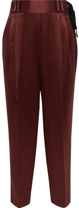 3.1 Phillip Lim Cropped Tie-detailed Satin-crepe Tapered Pants