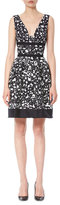 Carolina Herrera Sleeveless Splatter-Print Dress, Navy/White