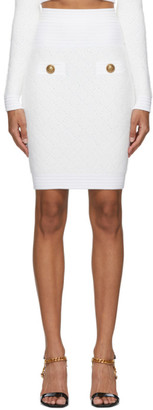 Balmain Off-White Fluffy Diamond Miniskirt