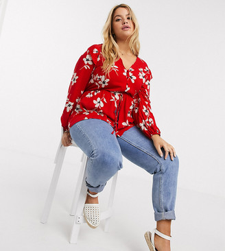 New Look Plus New Look Curve peplum top in red floral