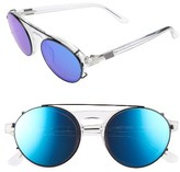 Westward Leaning Women's 47Mm Retro Aviator Sunglasses - Crystal/ Deep Blue