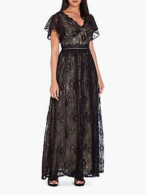 Adrianna Papell Metallic Lace Maxi Dress, Black/Gold