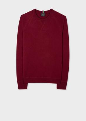 Men's Burgundy Merino Raglan Sleeve Sweater
