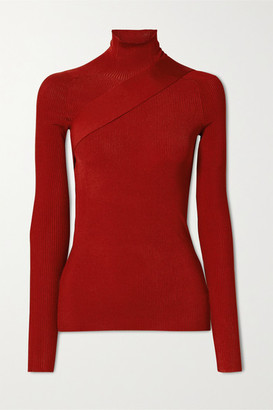 Peter Do Seatbelt Ribbed-knit Turtleneck Top - Red