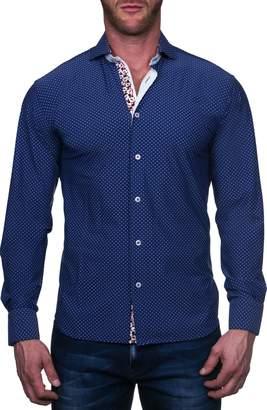 Maceoo Einstein Regular Fit Square Blue Button-Up Shirt
