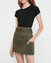Express High Waisted Belted Utility Mini Skirt