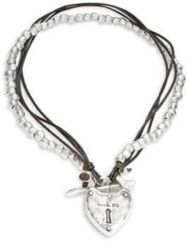 Uno de 50 Cord and Beaded Lock Pendant Necklace